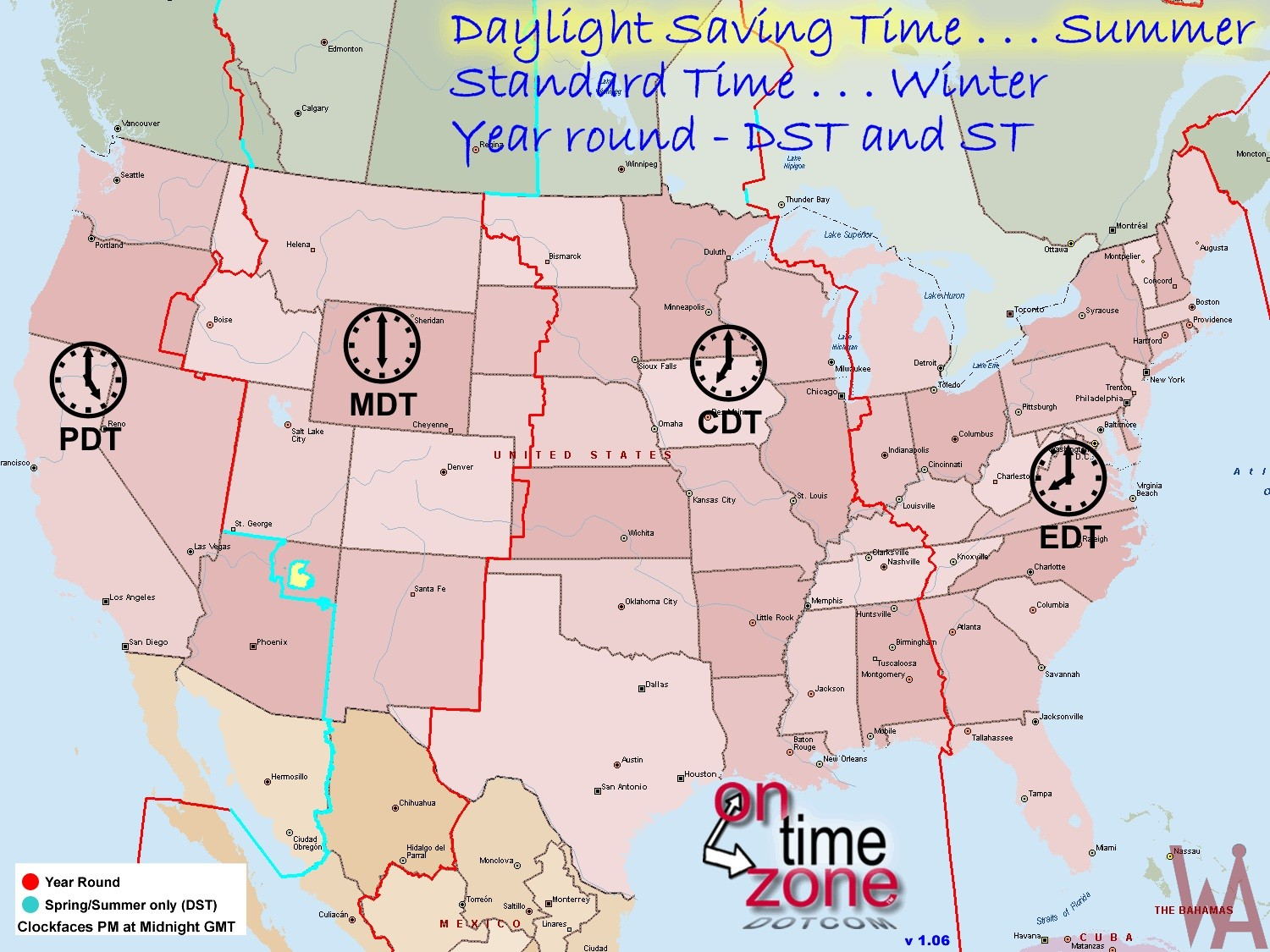 Dst Time Zone Map Of The Usa