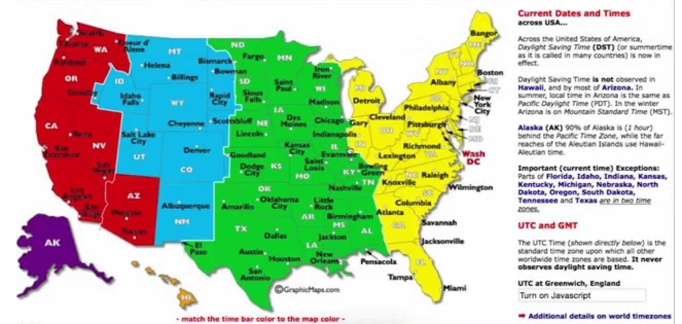 DST UTC GMT time zone map of the USA | WhatsAnswer