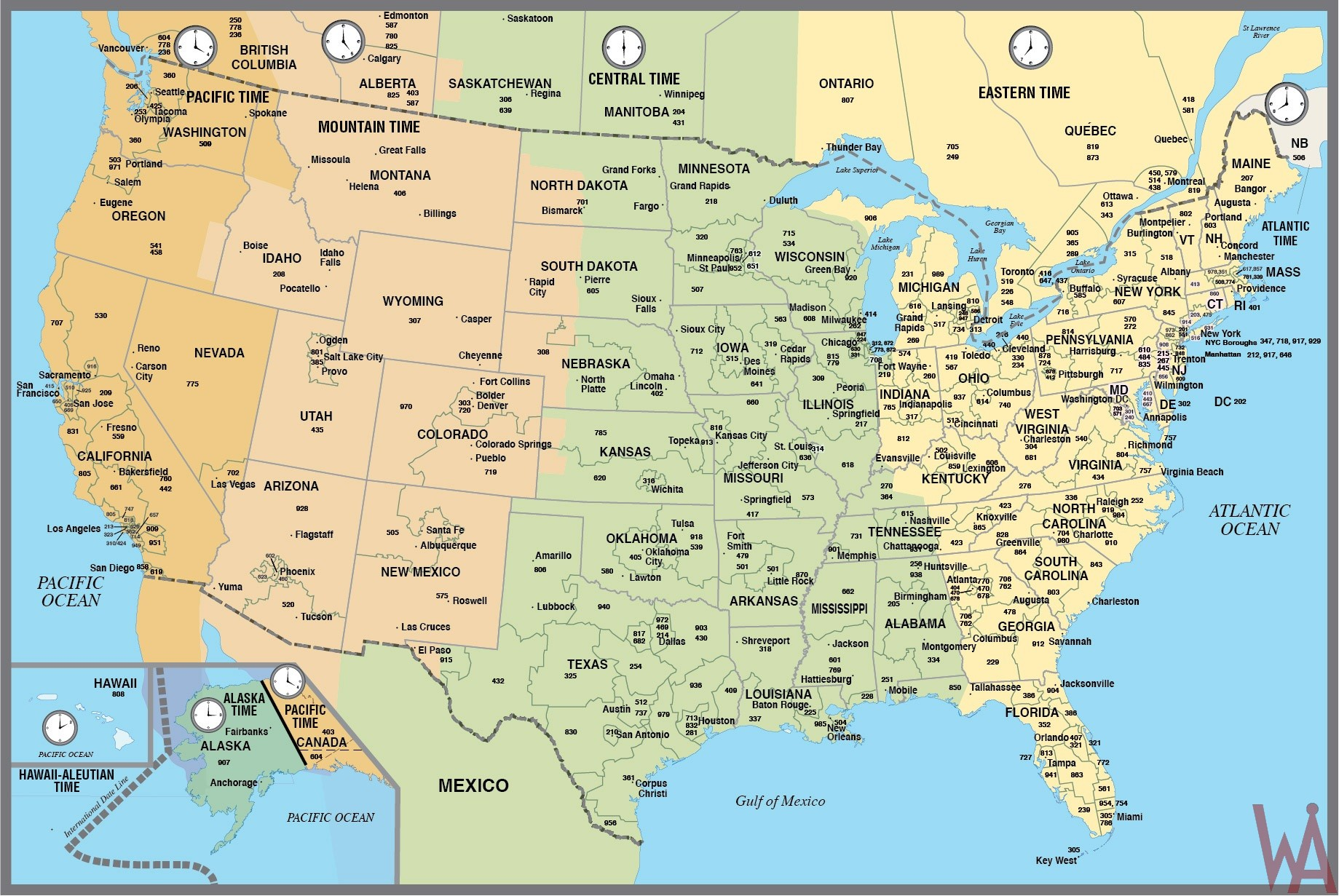 Details And  Large Time Zone Map Of The USA