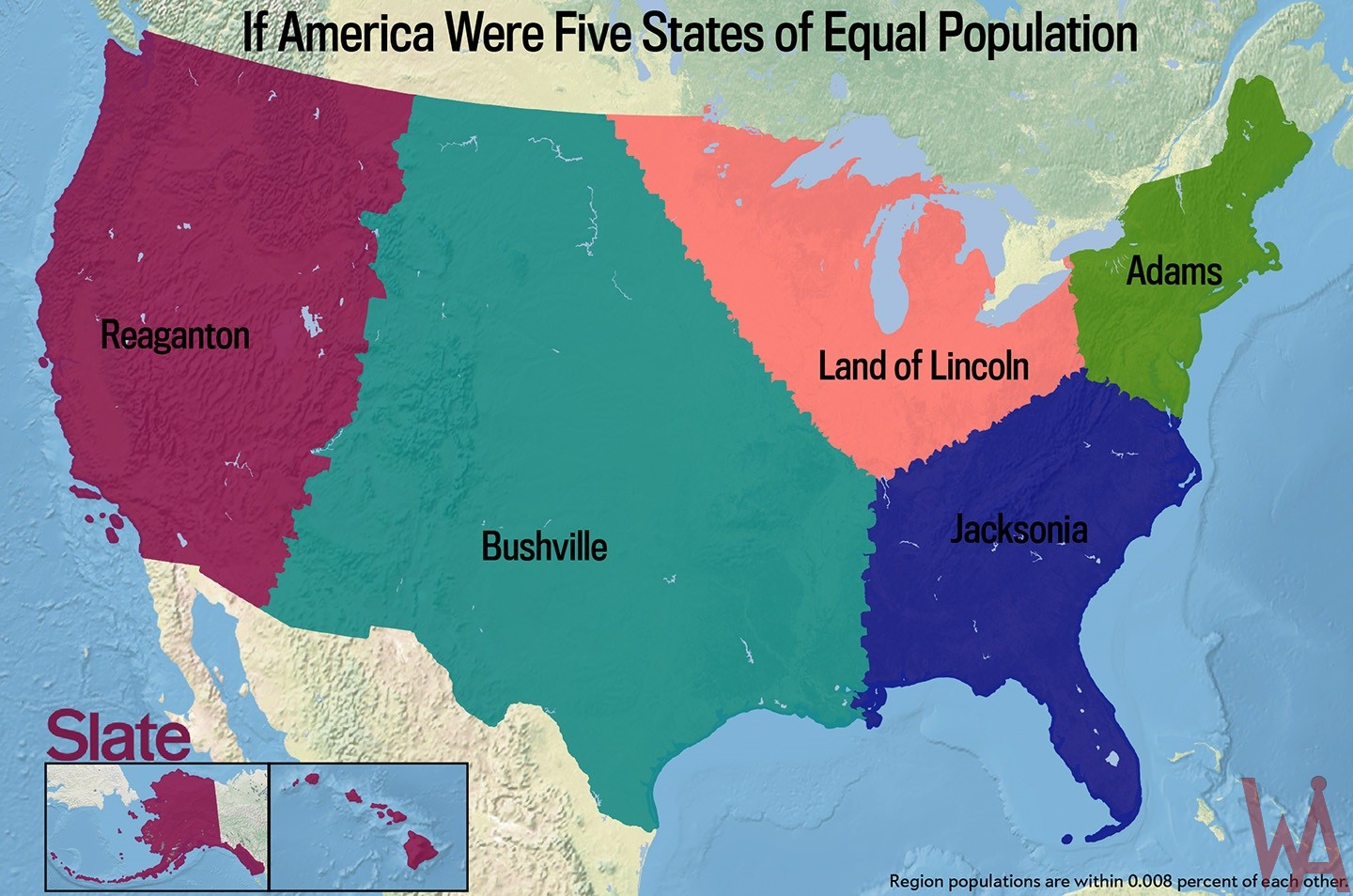 Equal Population map 2 of the United States