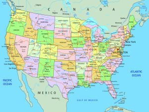 Large And Attractive City Capital and states map of the USA