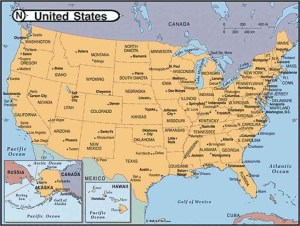 Major Cities Image Map Of the USA