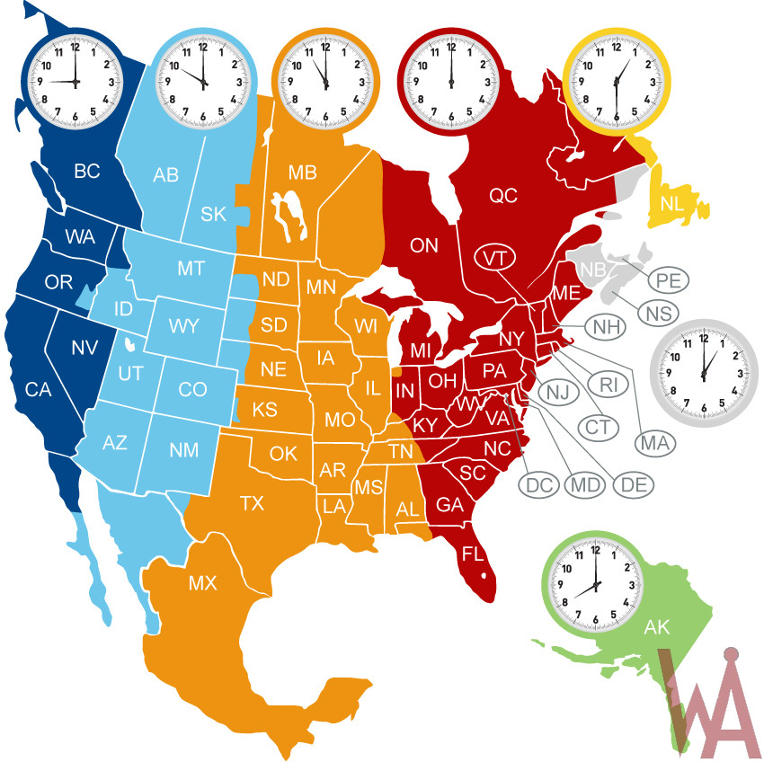 Time Zone Map Of North America Whatsanswer