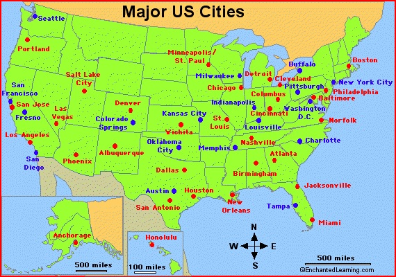 One Color Large Cities Map of The USA | US Cities Map
