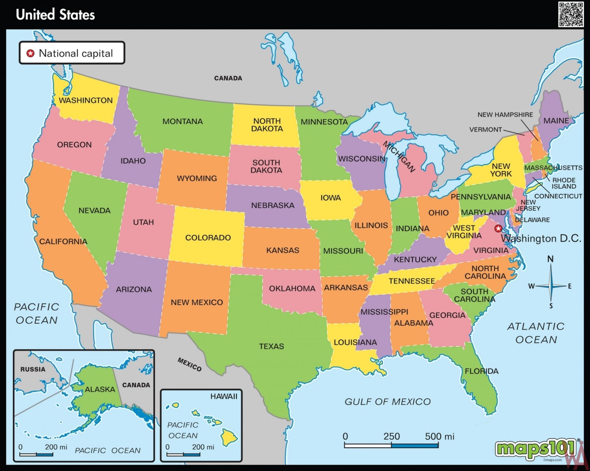 Large State Map of the US || HD Wallpaper Map
