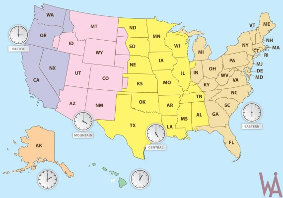 State Wise Time Zone Map Of The Usa Whatsanswer