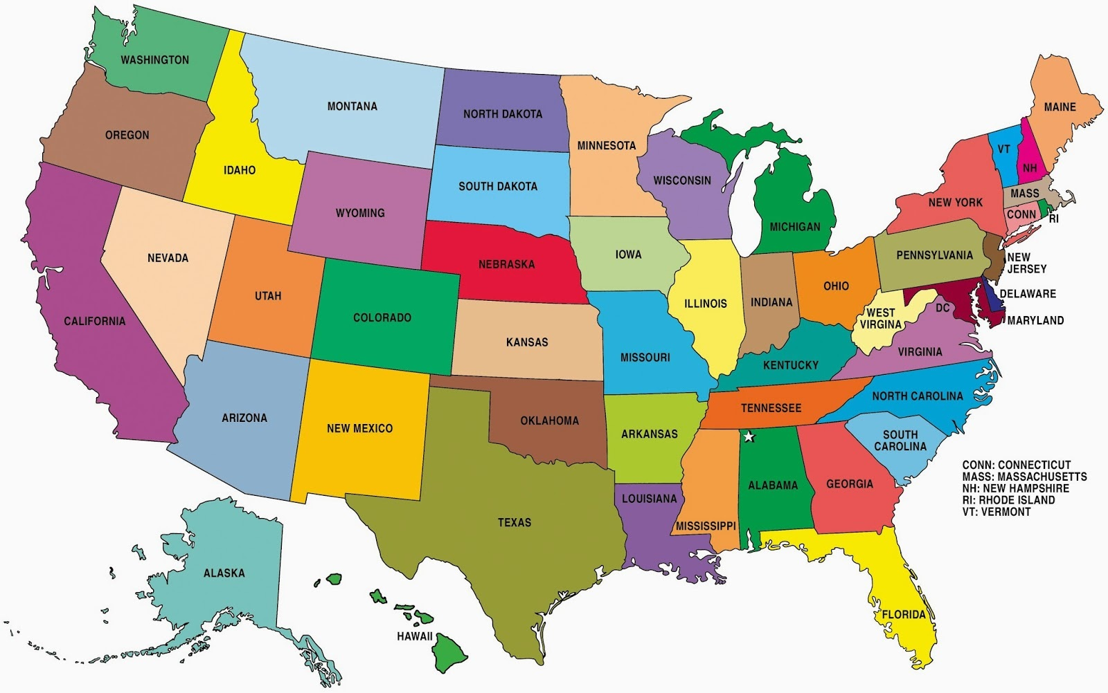 Image of: State Wise Large Color Map Of The Usa Whatsanswer