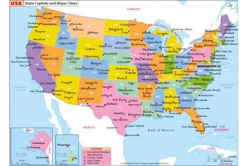 States Capital And Major Cities Map of the USA | WhatsAnswer