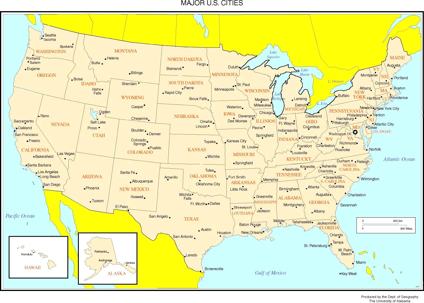 States Major Cities Map Of The USA