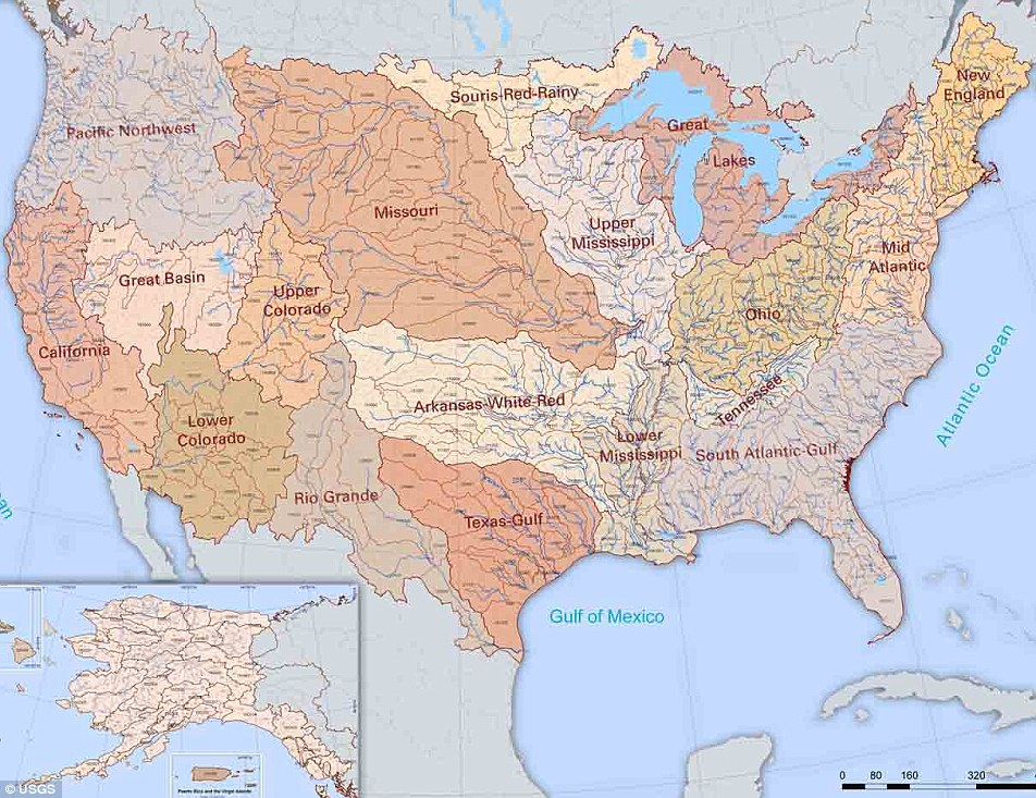 The River Map Of The United States With 18 River Basin Whatsanswer - Great-basin-on-us-map