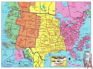 The Large Detailed Map of Area Codes And Time Zones of the USA