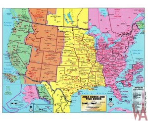 Vector Time Zone Map of USA with Capital and Cities