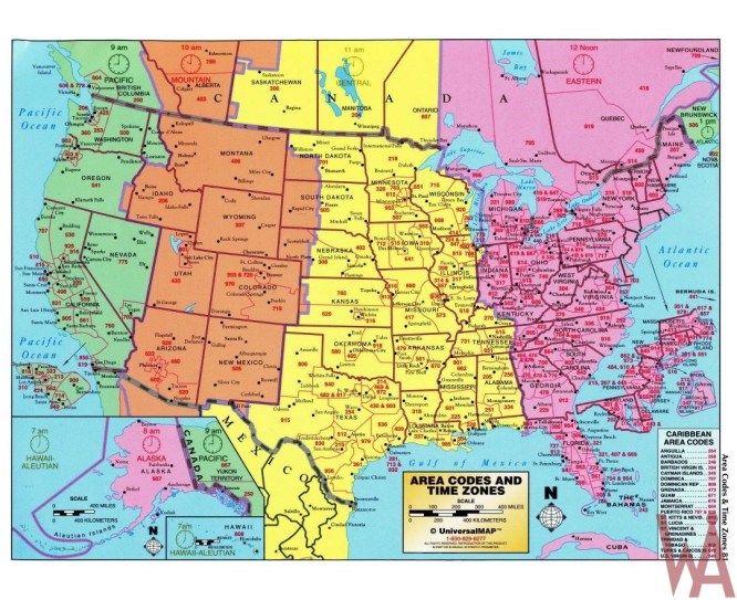 Vector Time Zone Map of USA with Capital and Cities ...