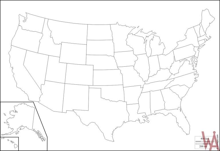Outline Map Of Usa Whatsanswer - Printable-us-outline-map