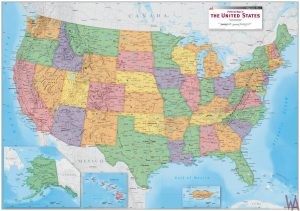 large antique colored states Map of the USA