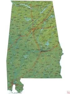 Alabama High Resolution  Physical  Map    High Resolution Physical  Map of Alabama