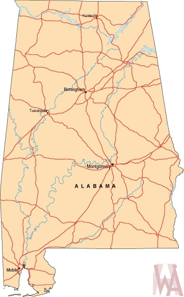 Alabama Labeled  Map |  Labeled  Map of Alabama