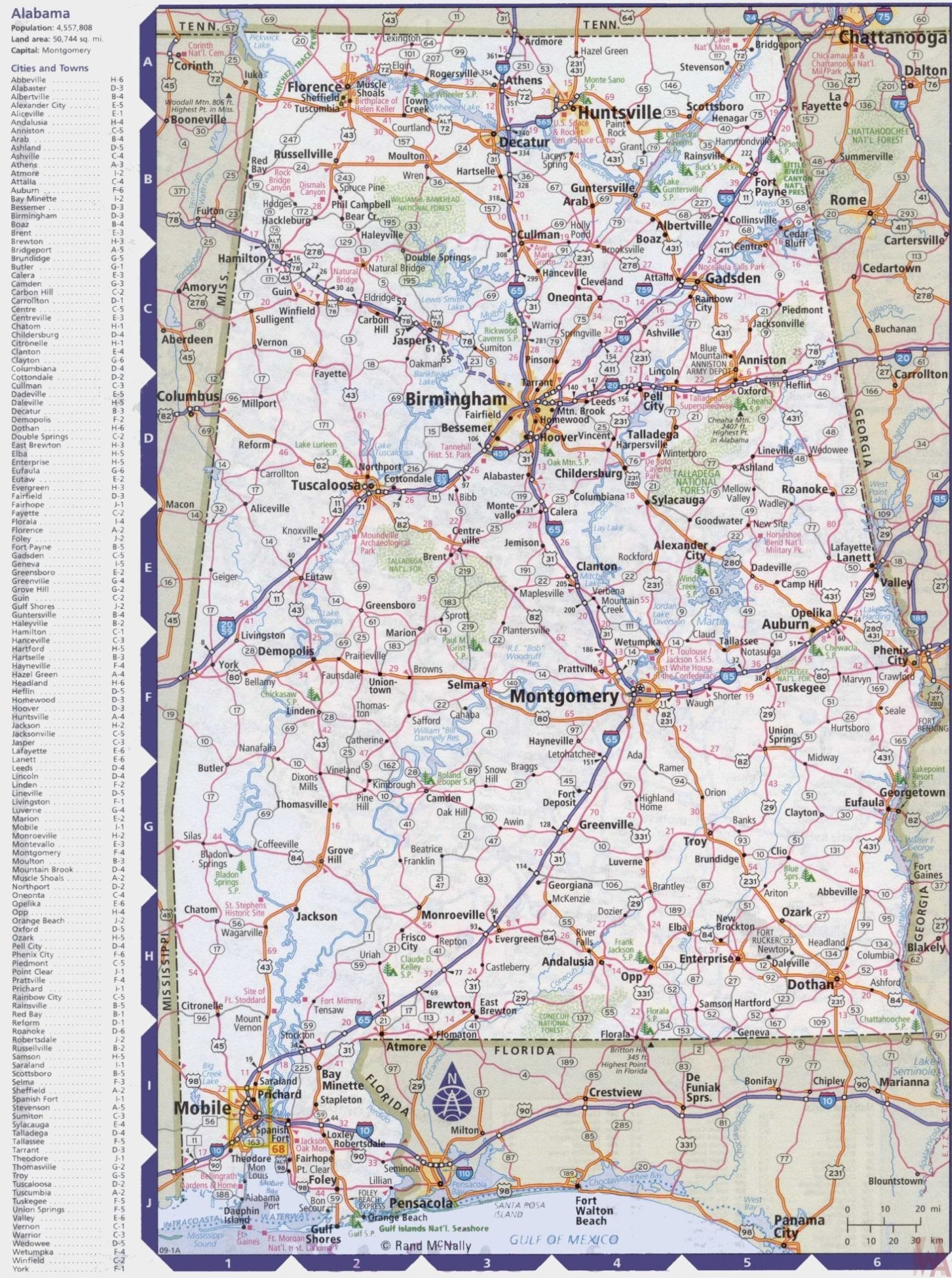 Alabama Large Political  Map |  Political  Map of Alabama With Capital , city and River lake
