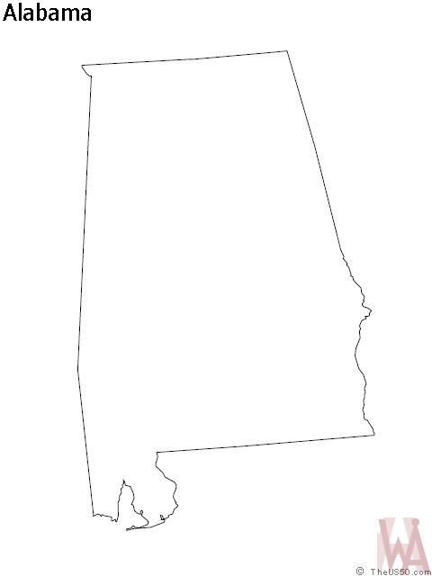 Alabama Outline  Map     Outline  Map of Alabama