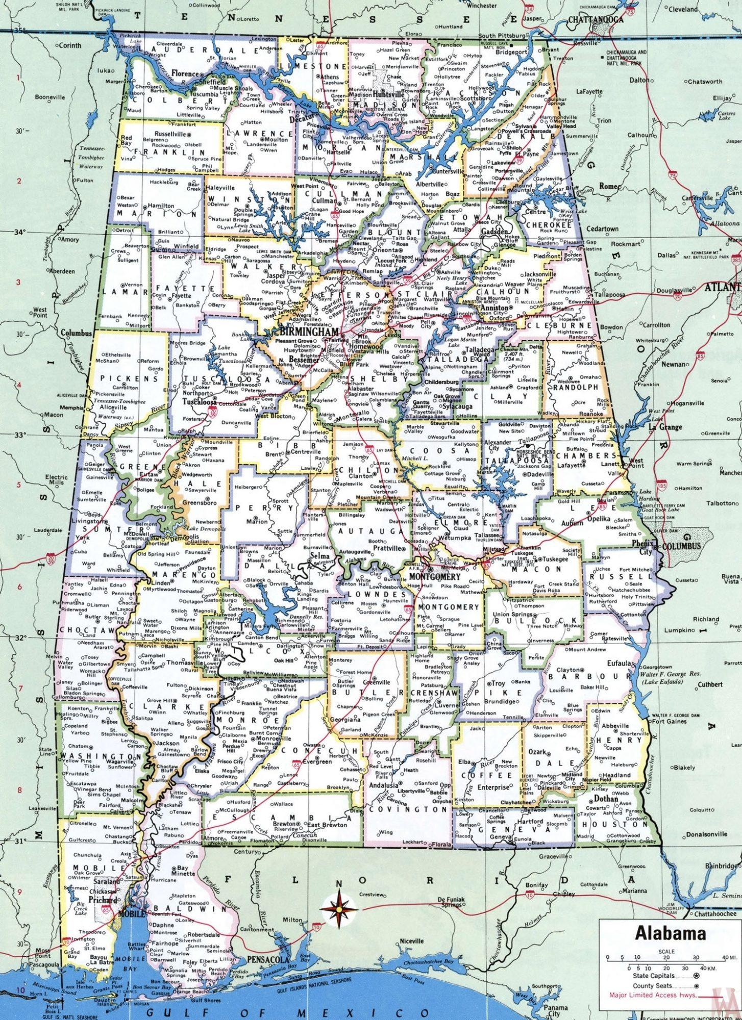 Political Map Of Alabama.Alabama Political Map Political Map Of Alabama With Capital City