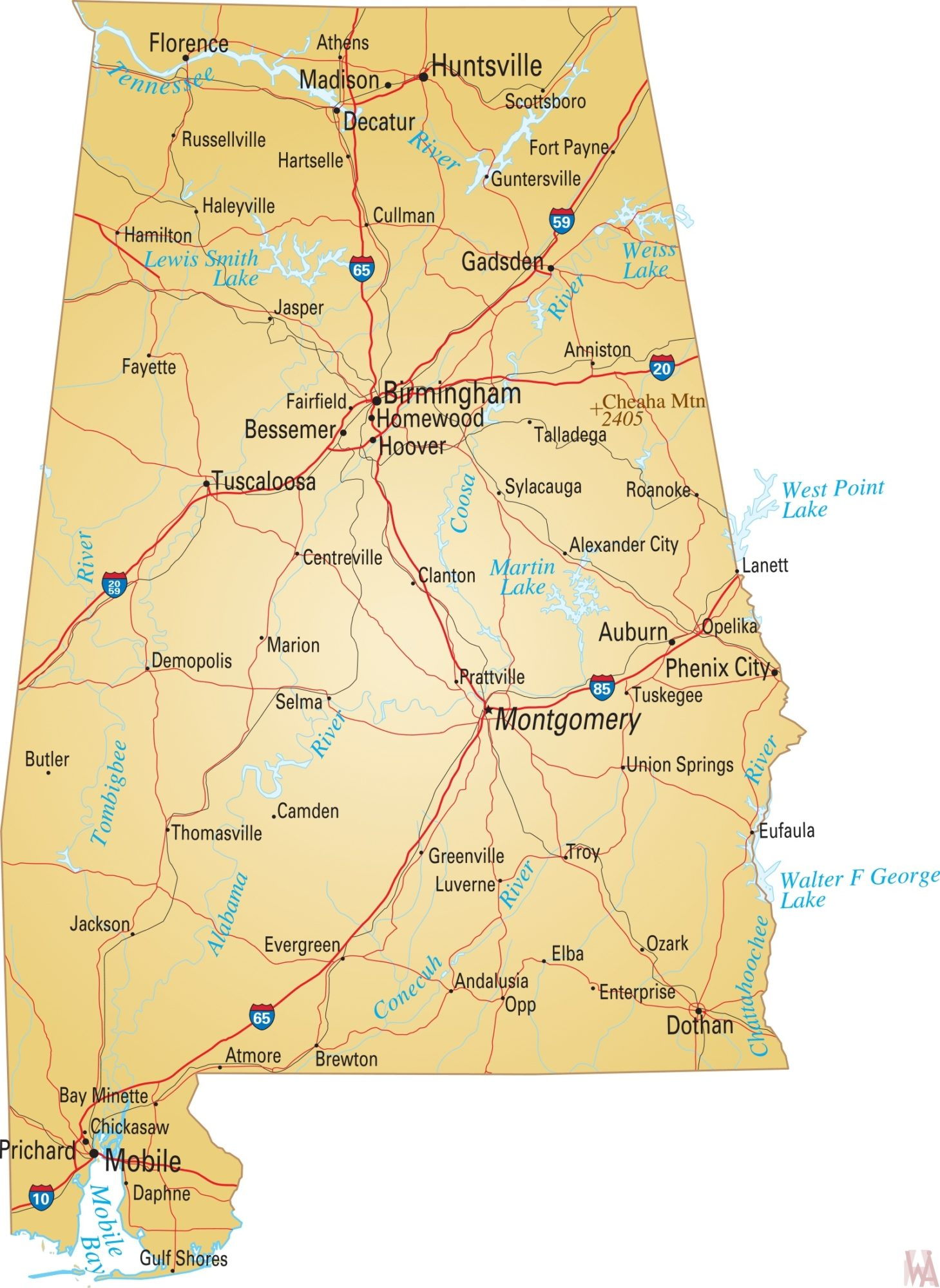 Alabama River Map | River Map of Alabama | WhatsAnswer