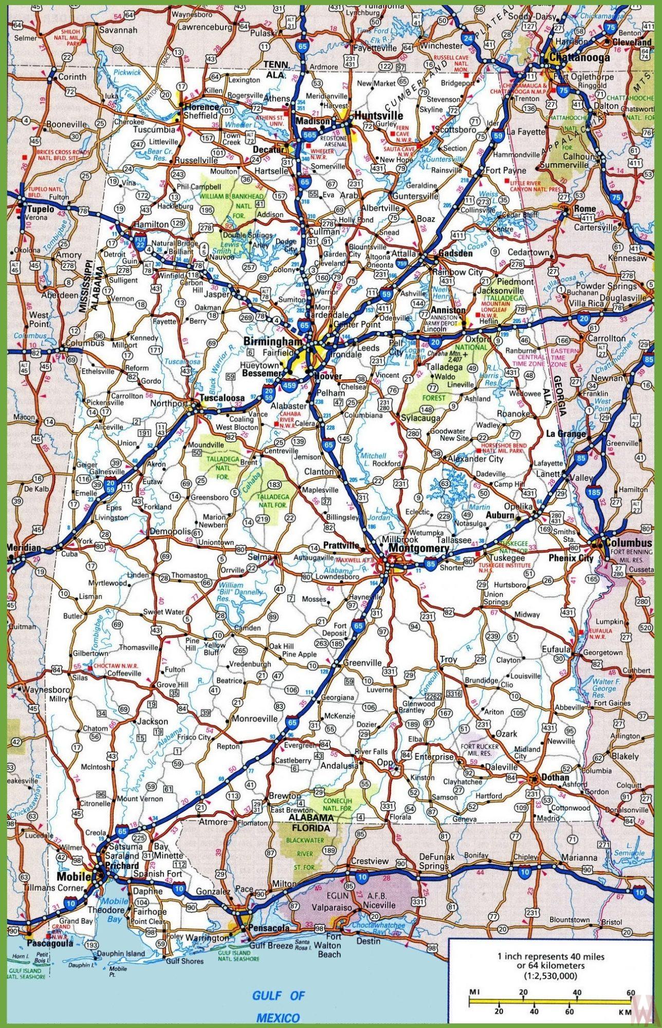 Alabama Road  Map |  Road  Map of Alabama High Resolution