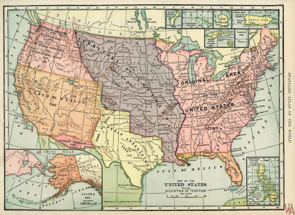 Antique Large Politicalphysicalgeographical Historical Us Map - Us-map-1845