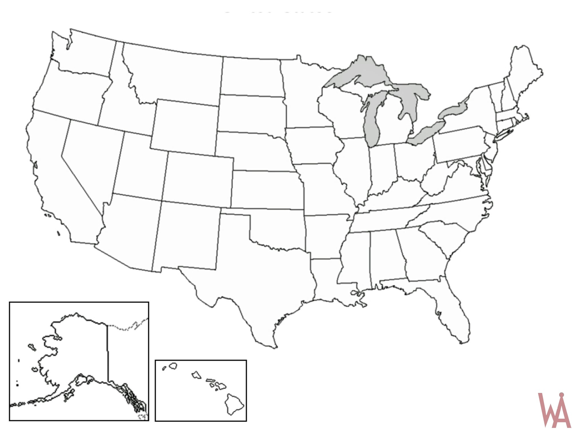 Blank Outline Map of the US