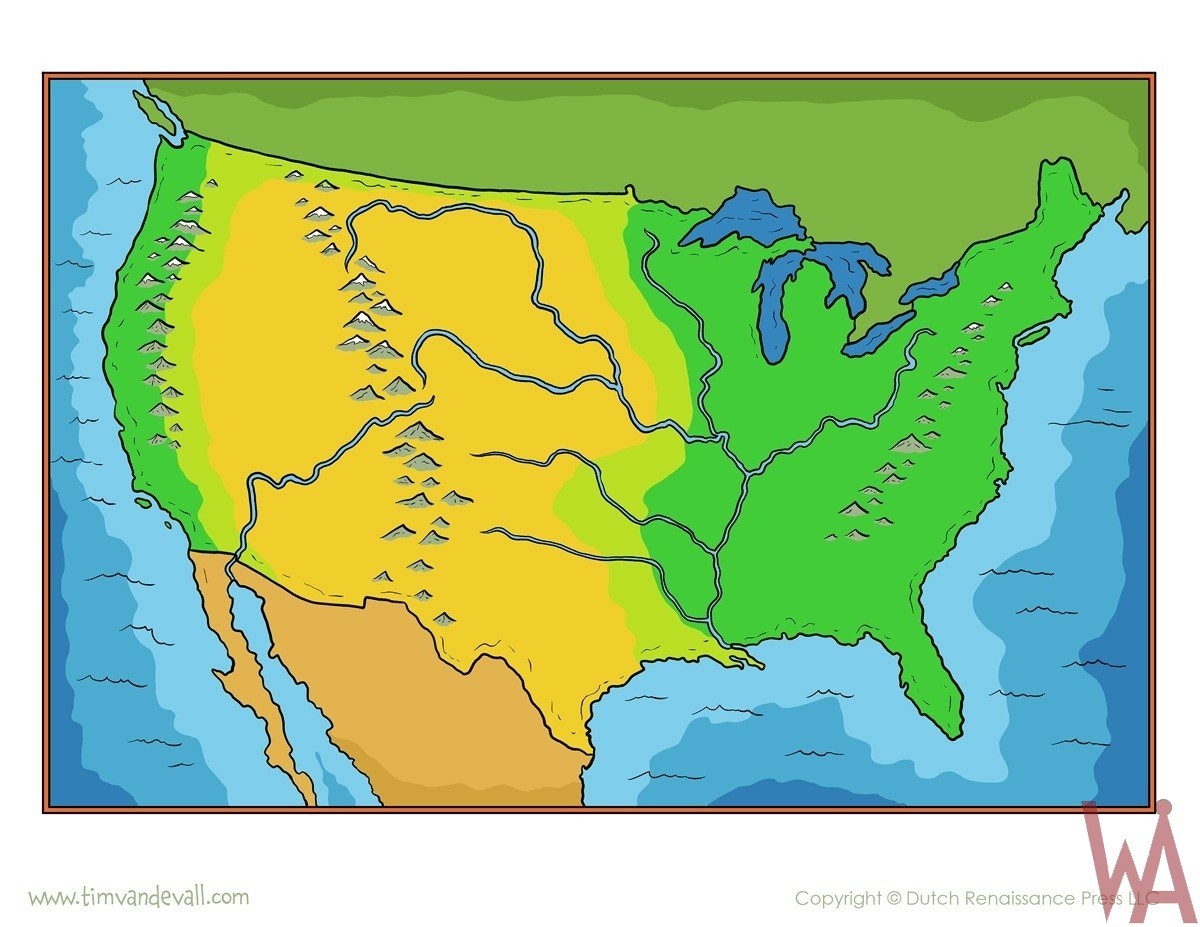 Blank Outline Topographic  Map of the USA