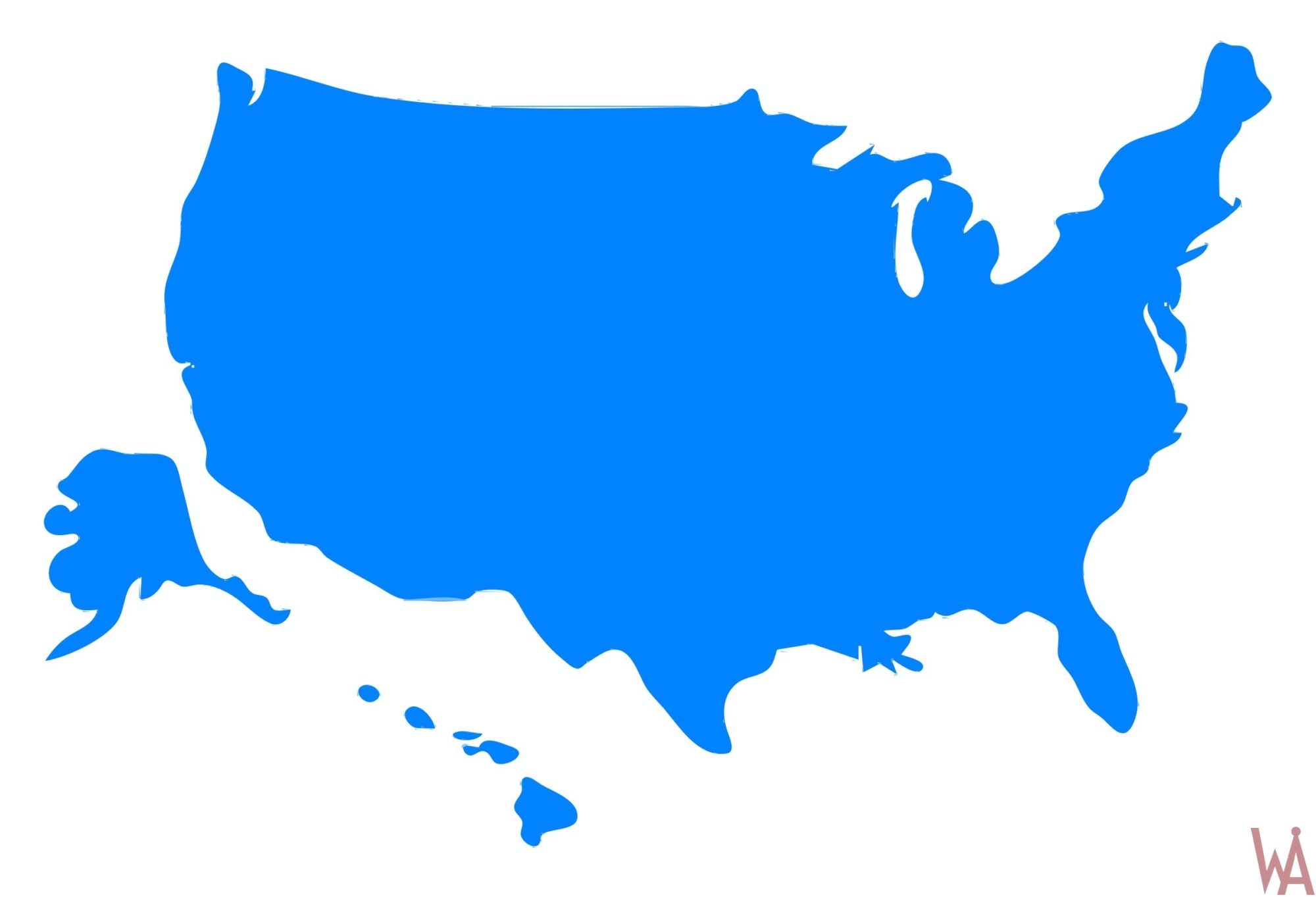 Blank Outline color 1 Map of the USA | WhatsAnswer