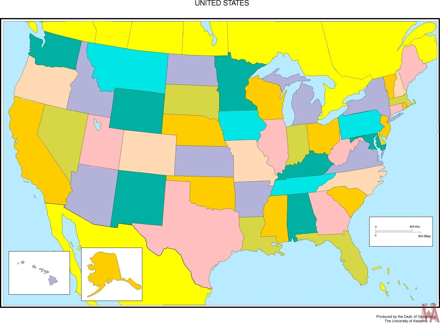 Blank color outline map of the United States. 1 | WhatsAnswer