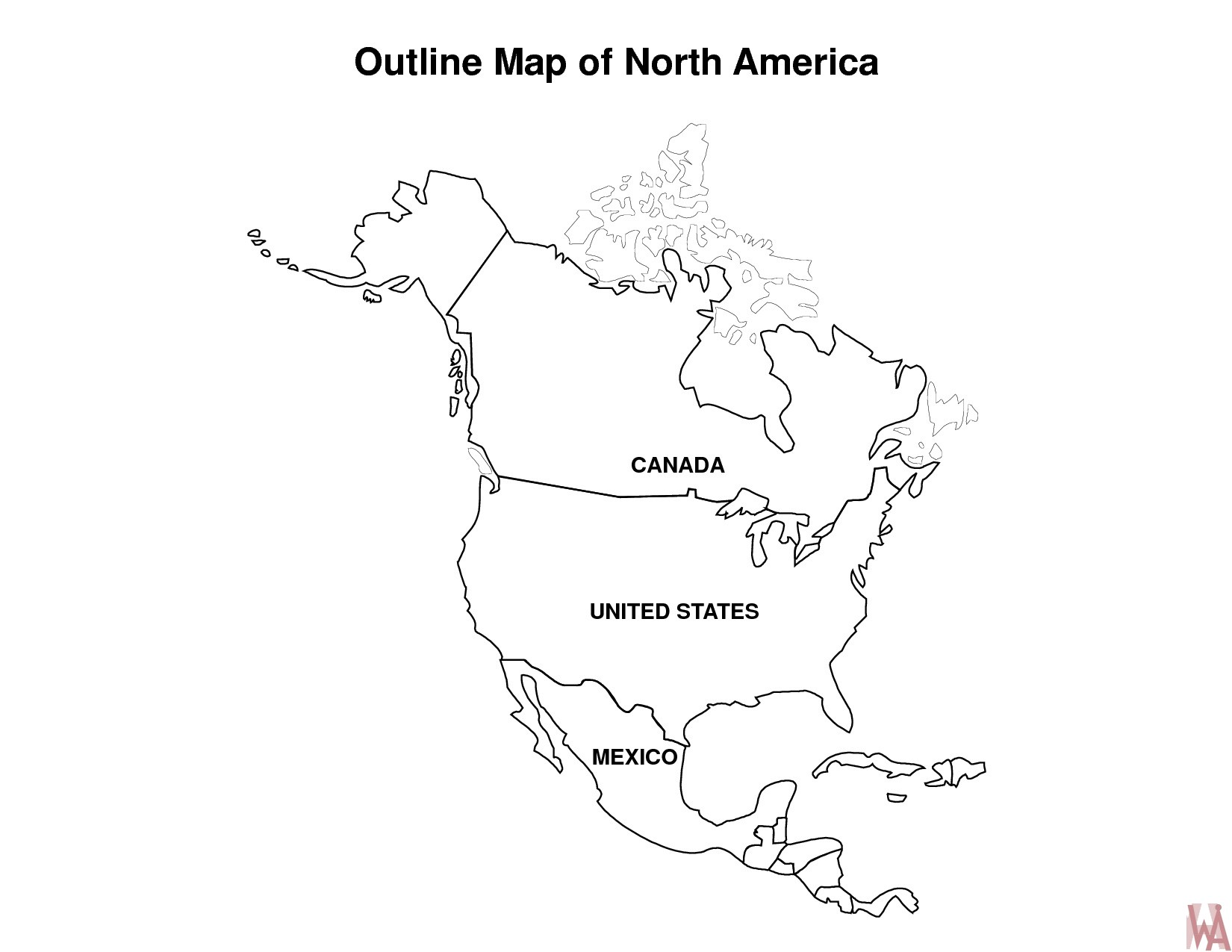 Blank Outline Map of North America