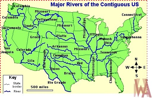 Blank outline map of the USA with major rivers 2 | WhatsAnswer
