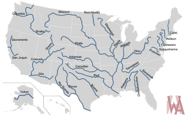 Blank outline map of the USA with major rivers 3 | WhatsAnswer