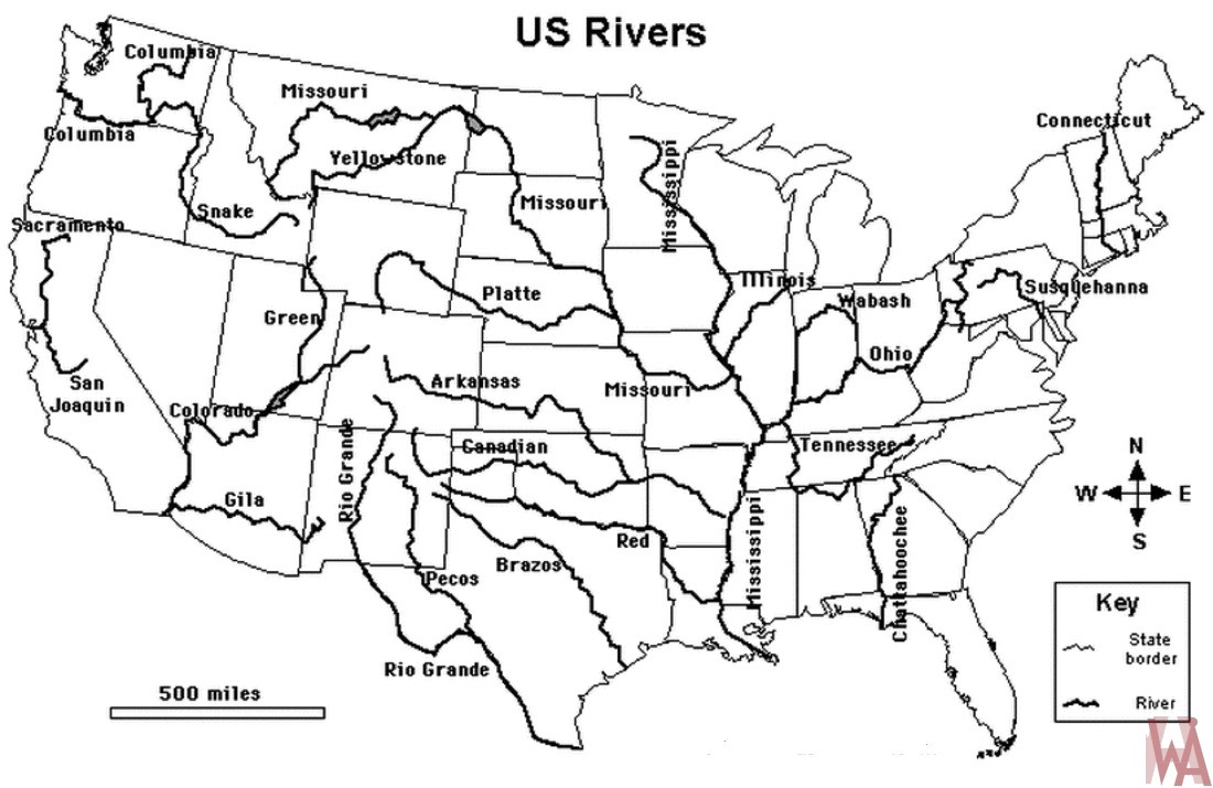 Blank outline map of the USA with major rivers | WhatsAnswer