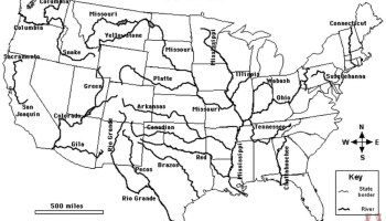 Blank outline map of the USA with major rivers 6 | WhatsAnswer