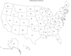 Blank outline map of the United States and Canada