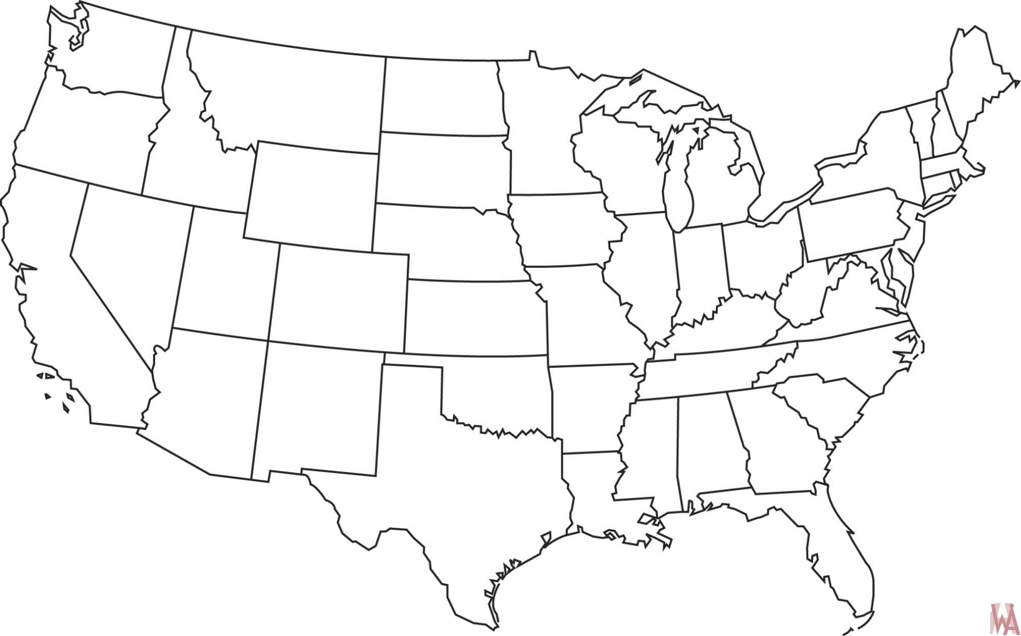 United States Outline Map Blank outline map of the United States 19 | WhatsAnswer