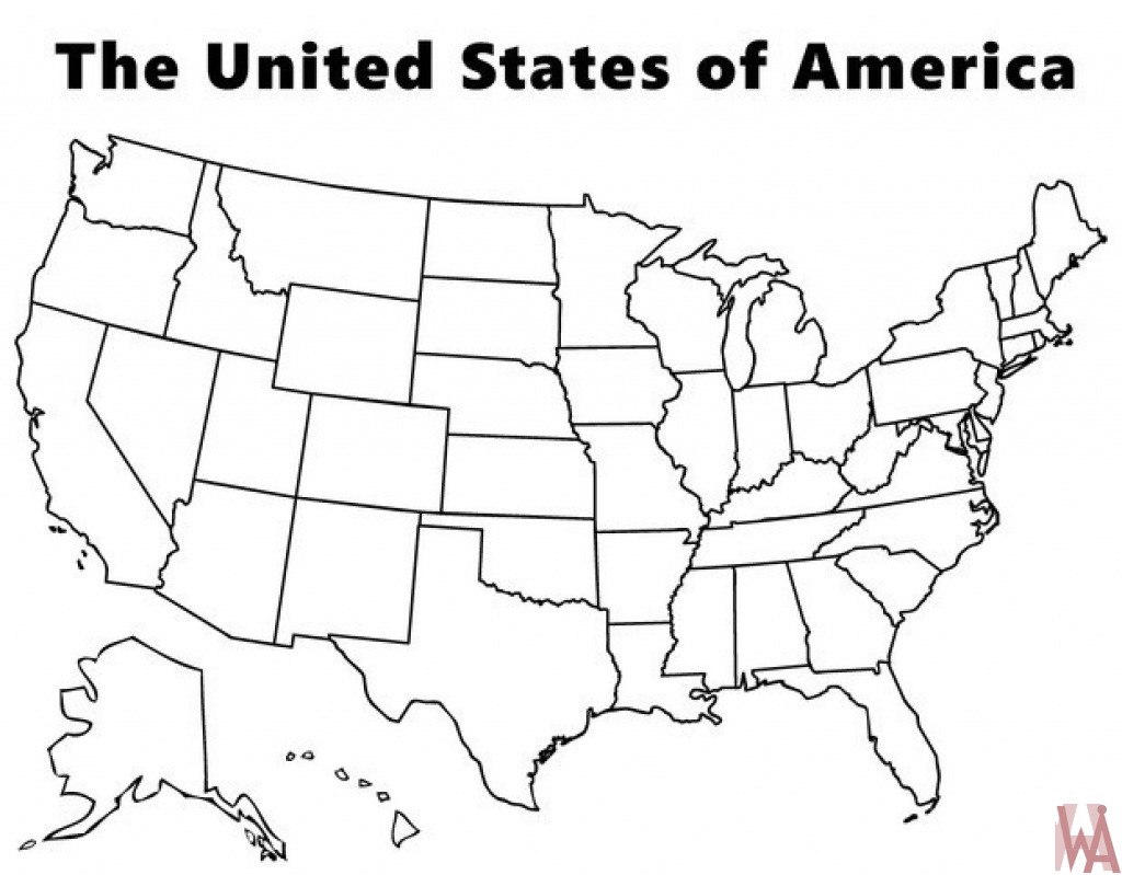 Blank outline map of the United States 2