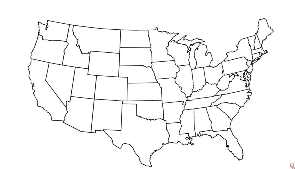 Blank outline map of the United States 21 | WhatsAnswer