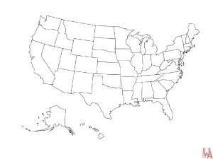 Blank outline map of the United States 22