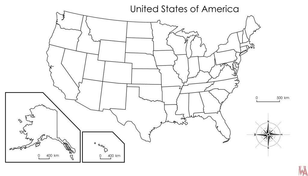 Blank outline map of the United States 24 | WhatsAnswer