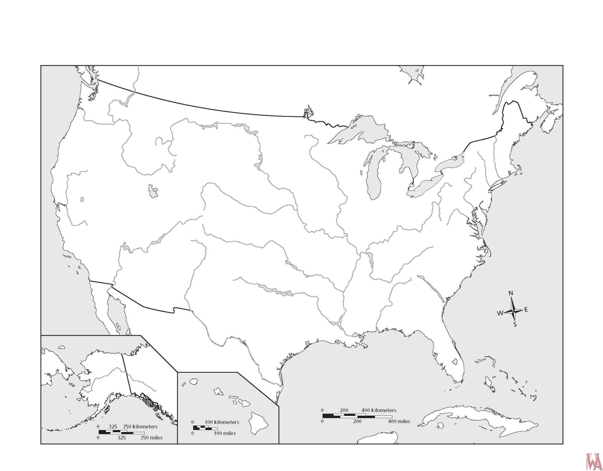 Blank outline map of the United States 25 | WhatsAnswer
