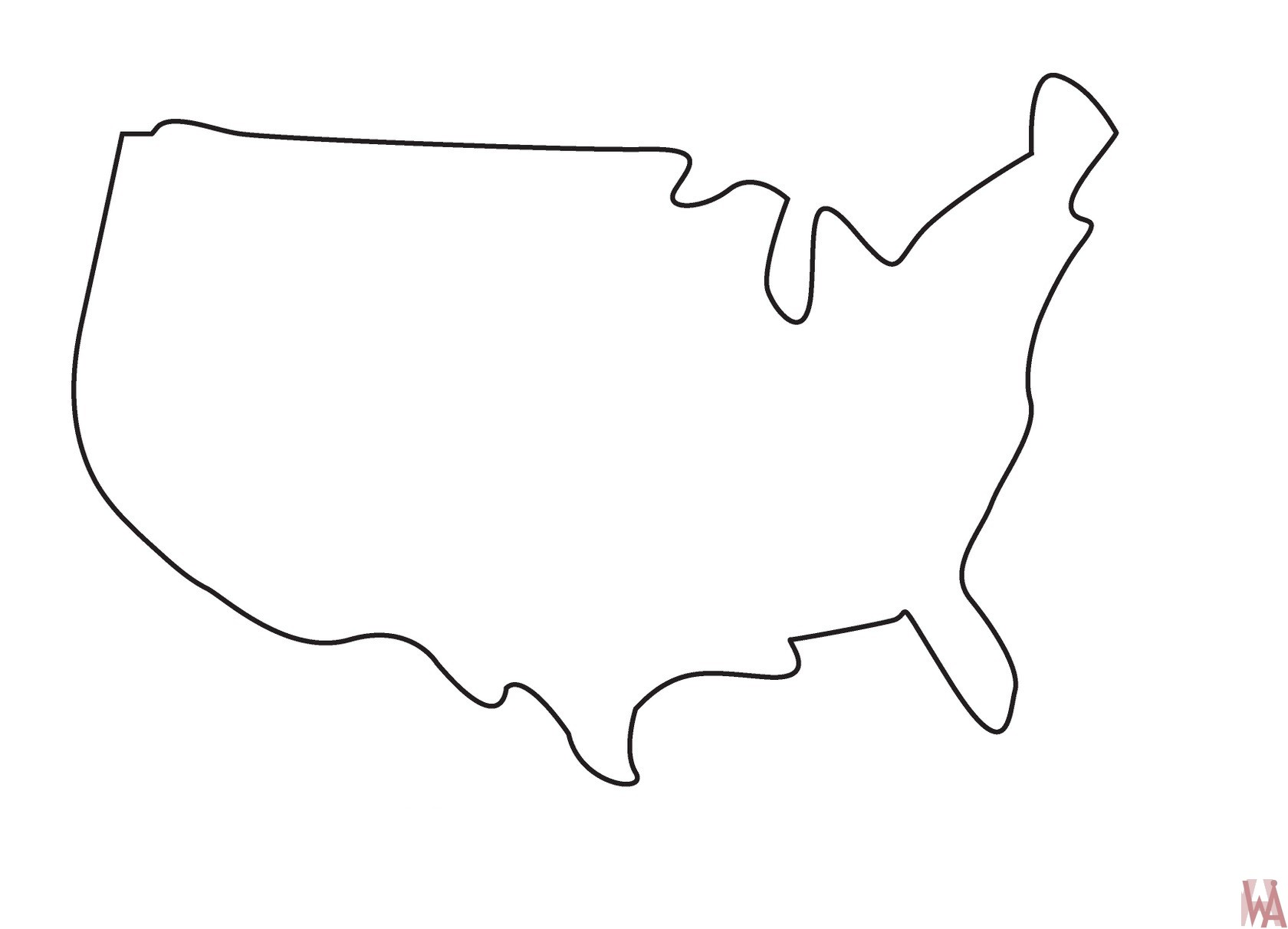 Blank Outline Map Of The United States Country Border Whatsanswer - Blank-us-outline-map