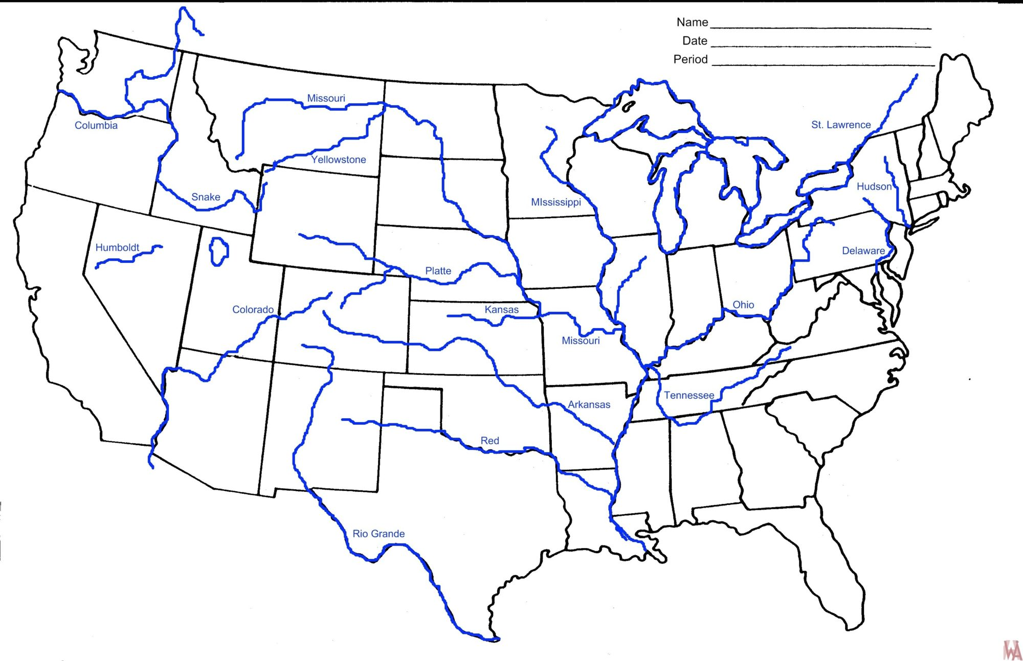 Blank outline map of the United States With Rivers | WhatsAnswer