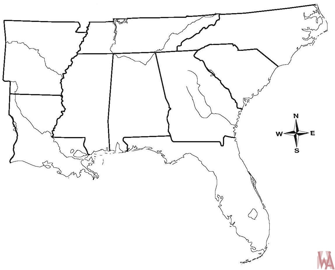Picture of: Blank Outline Map Of The Us South Region Whatsanswer