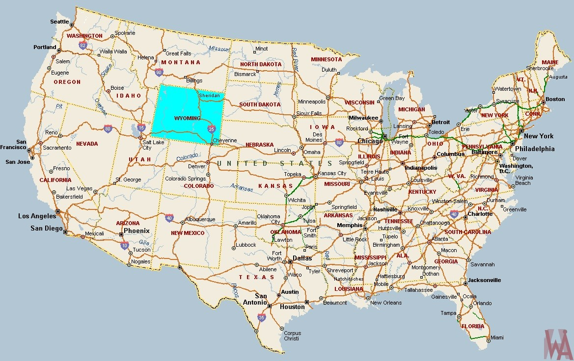 Blank outline one color labeled map of the USA with major  rivers