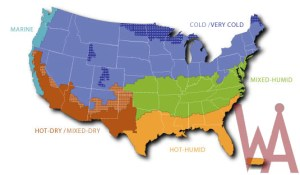 Climate zone map of the US