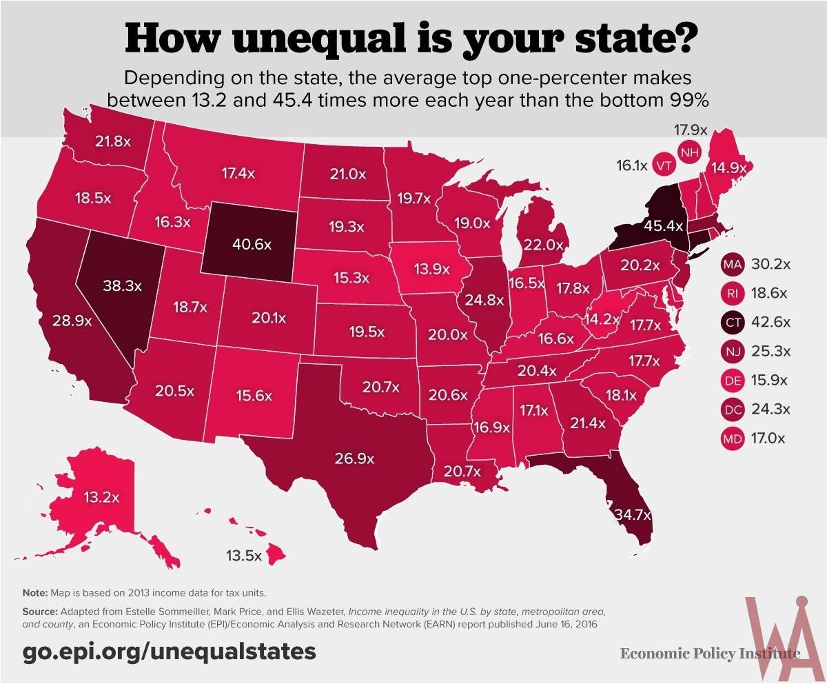 EPI Income Inequality Map of the USA