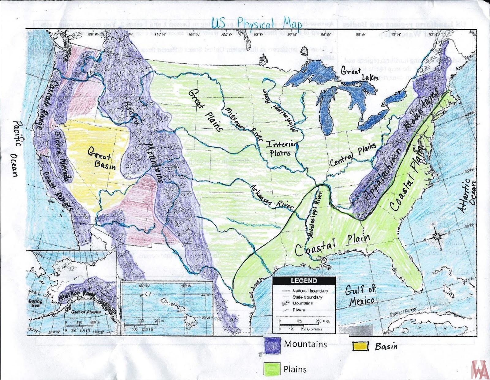 Full hand made United States rivers, lakes, water flows, mountain and basin map
